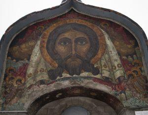 """Мозаика """"Спас Нерукотворный"""" на храме Духа в Талашкино"""